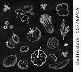 fresh vegetables set hand drawn ... | Shutterstock . vector #507769459