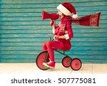 Happy Child Rides A Bike. Kid...