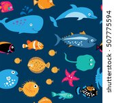 seamless pattern with a cute... | Shutterstock . vector #507775594