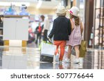 kids shopping. cute little girl ... | Shutterstock . vector #507776644