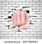 hand in fist punching through a ... | Shutterstock .eps vector #507789091