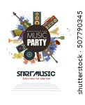 music party flyer retro... | Shutterstock .eps vector #507790345