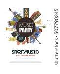 music party flyer retro... | Shutterstock .eps vector #507790345