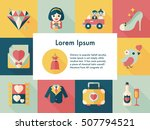 wedding and marriage icons set | Shutterstock .eps vector #507794521