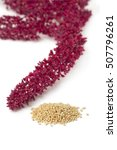 Small photo of Amaranth flowers and seeds on white background