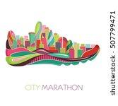 running concept. city marathon. ... | Shutterstock .eps vector #507799471