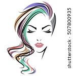 illustration of women long hair ... | Shutterstock .eps vector #507800935