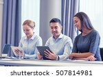 business  people and technology ... | Shutterstock . vector #507814981