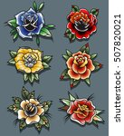 traditional tattoo roses set... | Shutterstock .eps vector #507820021
