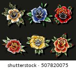 traditional tattoo roses set... | Shutterstock .eps vector #507820075