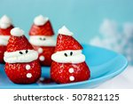strawberry whipped cream santa... | Shutterstock . vector #507821125