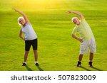 senior couple doing exercise.... | Shutterstock . vector #507823009
