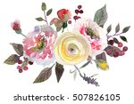 watercolor floral bouquet red...   Shutterstock . vector #507826105