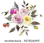 watercolor floral bouquet pink... | Shutterstock . vector #507826495