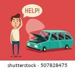 broken car with open hood....