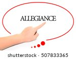 Small photo of Hand writing ALLEGIANCE with the abstract background. The word ALLEGIANCE represent the meaning of word as concept in stock photo.
