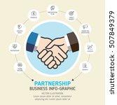 businessman handshake info... | Shutterstock .eps vector #507849379