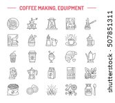 vector line icons of coffee... | Shutterstock .eps vector #507851311