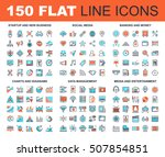 Vector set of 150 flat line web icons on following themes - startup and new business, social media, banking and money, charts and diagrams, data management, media and entertainment | Shutterstock vector #507854851
