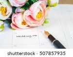 word wedding on calendar with... | Shutterstock . vector #507857935