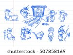 cute hand drawn miner... | Shutterstock .eps vector #507858169