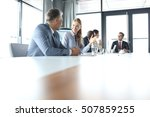 young businesswoman talking...   Shutterstock . vector #507859255