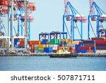 tugboat and crane in harbor... | Shutterstock . vector #507871711