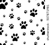 Dog Paw Print Seamless. Traces...