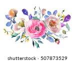 pink blue purple watercolor... | Shutterstock . vector #507873529