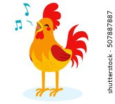Cute Rooster Singing Isolated...