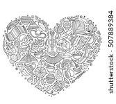 line art vector hand drawn set... | Shutterstock .eps vector #507889384