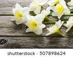 white daffodil flowers on old...   Shutterstock . vector #507898624