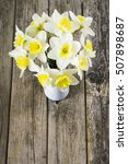 white daffodils at china vase... | Shutterstock . vector #507898687