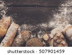 bread border on dark wood with... | Shutterstock . vector #507901459