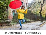 enjoying autumn days. woman in... | Shutterstock . vector #507905599