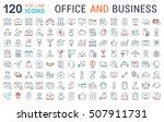 set vector line icons in flat... | Shutterstock .eps vector #507911731
