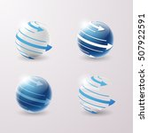 set of abstract 3d techno icons ... | Shutterstock .eps vector #507922591