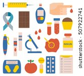 illustration with flat diabetes ... | Shutterstock . vector #507922741