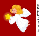 cute christmas angel with  star.... | Shutterstock .eps vector #507924781