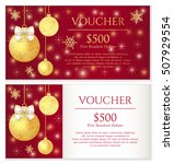 luxury red christmas voucher... | Shutterstock .eps vector #507929554