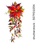 christmas wreath watercolor... | Shutterstock . vector #507931054