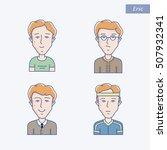 set of different man face...   Shutterstock .eps vector #507932341