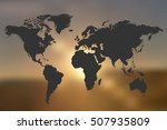 world map sunset background... | Shutterstock .eps vector #507935809