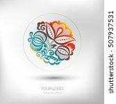 colorful floral logo design.... | Shutterstock .eps vector #507937531