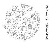 dentistry outline symbols.... | Shutterstock .eps vector #507959761
