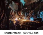 team robots welding assembly...   Shutterstock . vector #507961585