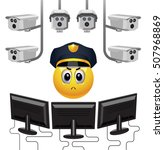 smiley ball as security. strict ... | Shutterstock .eps vector #507968869