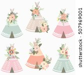 floral teepee elements   Shutterstock .eps vector #507969001