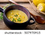Corn Soup In Bowl On Wooden