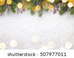 christmas fir twig with red... | Shutterstock . vector #507977011